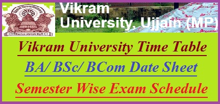 Vikram University Time Table 2019
